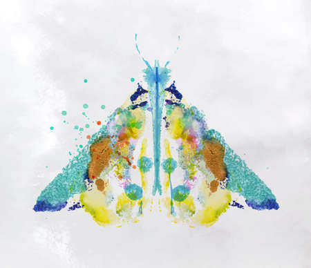 Monotype vivid colorful moth drawing with different colors on paper background