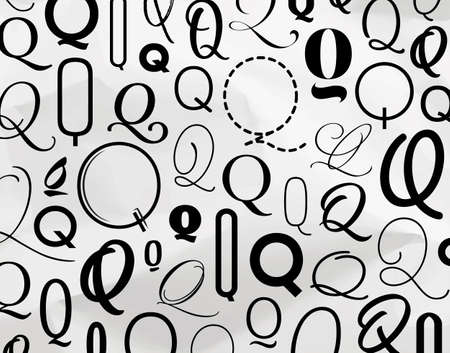 Symbol q pattern drawing on crumpled paper background