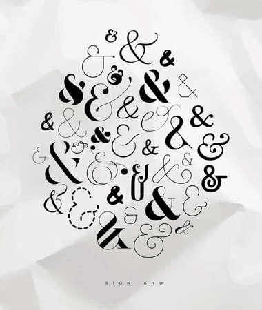 Poster hand drawn decoration symbols ampersand drawing on crumpled paper background Illustration