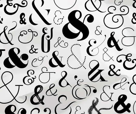 Ampersand pattern made from symbols drawing on crumpled paper background