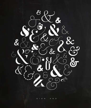 Poster hand drawn decoration symbosl ampersand drawing on crumpled paper background