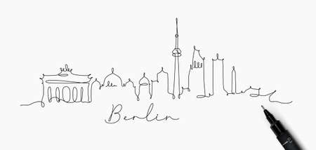 City silhouette berlin in pen line style drawing with black lines on white background