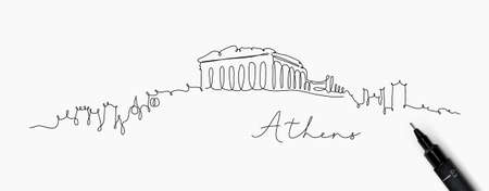City silhouette athens in pen line style drawing with black lines on white background