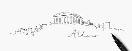 Stadtsilhouette Athen in Stiftlinienzeichnung mit schwarzen Linien auf weißem Hintergrund