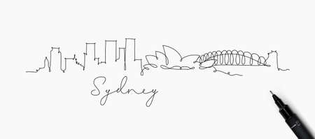 City silhouette sydney in pen line style drawing with black lines on white background