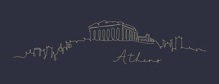 City silhouette athens in pen line style drawing with beige lines on dark blue background Ilustrace