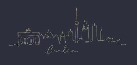 City silhouette berlin in pen line style drawing with beige lines on dark blue background