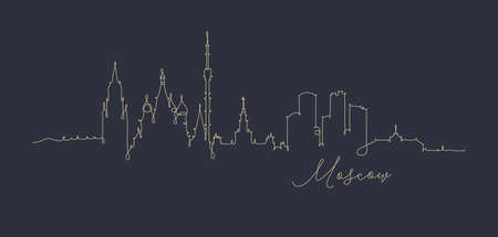 City silhouette moscow in pen line style drawing with beige lines on dark blue background