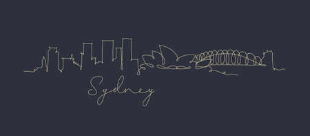 City silhouette sydney in pen line style drawing with beige lines on dark blue background