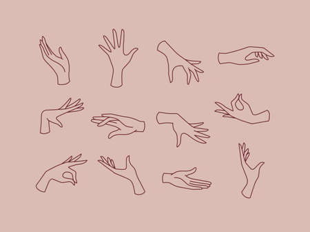 Hands icons drawing in flat style on pink brown background