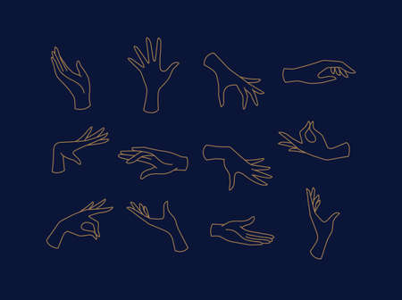 Hands icons drawing in flat style with brown lines on blue background Ilustração
