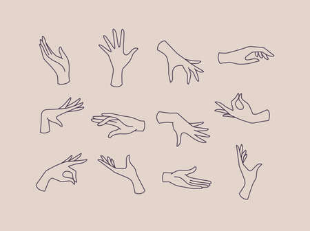 Hands icons drawing in flat style with black lines on beige background