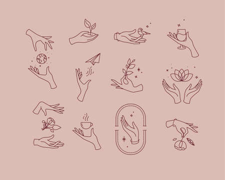 Hand symbols silhouettes drawing in flat style on pink brown background Ilustração