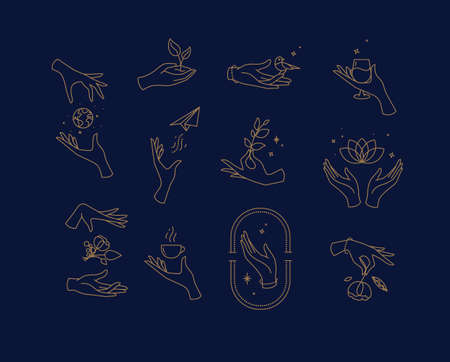 Hand symbols silhouettes drawing in flat style with brown lines on blue background