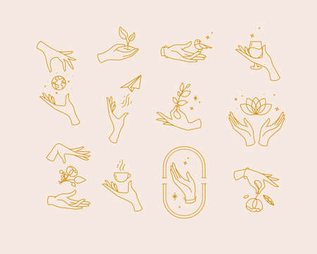 Hand symbols silhouettes drawing in flat style with brown lines on beige background
