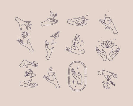 Hand symbols silhouettes drawing in flat style with black lines on beige background