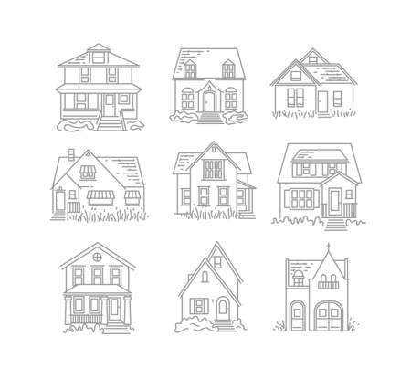 Set of house different forms icons drawing in flat style on white background