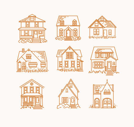 Set of house different forms icons drawing in flat style on beige background Иллюстрация