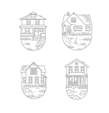 Set of house badges different forms drawing in flat style on white background Иллюстрация