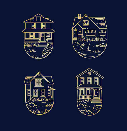Set of house badges different forms drawing in flat style on dark blue background