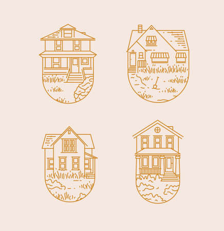 Set of house badges different forms drawing in flat style with gold lines on beige on white background Иллюстрация