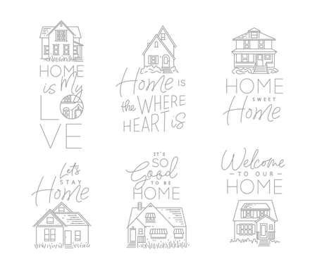 Set of house signs different forms with lettering drawing in flat style on white background Фото со стока - 112287368