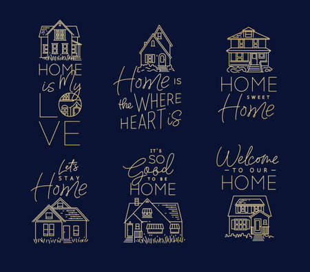 Set of house signs different forms with lettering drawing in flat style on dark blue background Vettoriali