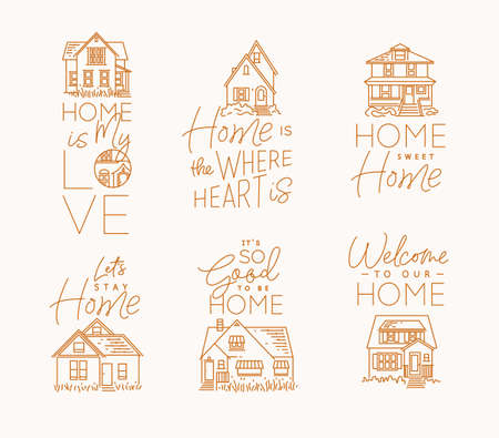 Set of house signs different forms with lettering drawing in flat style on beige background Vettoriali