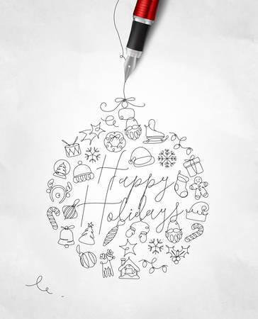 Christmas tree toy ball lettering happy holidays drawing with pen line on crumpled paper background
