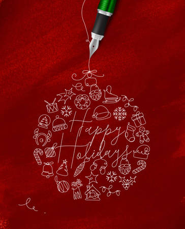 Christmas tree toy ball lettering happy holidays drawing with pen line on red background