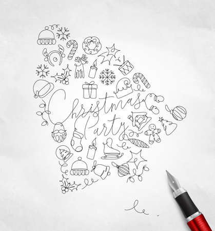 Toy bell lettering christmas party drawing pen line on crumpled paper background