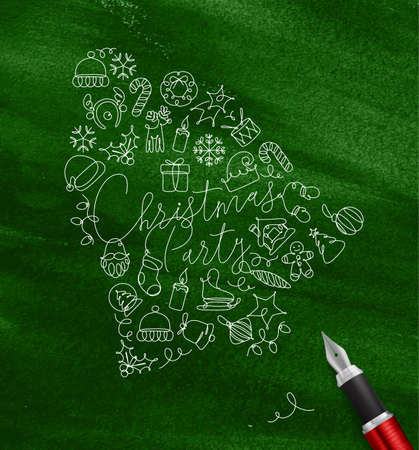 Toy bell lettering christmas party drawing pen line on green background