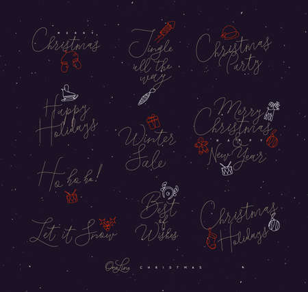 Christmas pen line lettering for winter holidays drawing on dark background