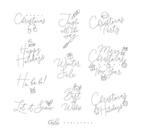 Christmas pen line lettering for winter holidays drawing on white background