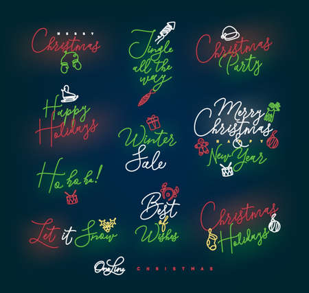 Christmas pen line lettering for winter holidays drawing with color on dark blue background