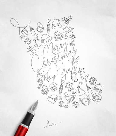Toy socks lettering merry christmas and happy new year drawing with pen line on crumpled paper background Archivio Fotografico - 106710818