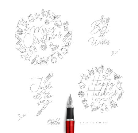Christmas pen line monograms with lettering for winter holidays drawing on white background