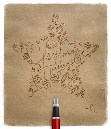 Christmas tree toy star lettering holidays drawing with pen line on craft background