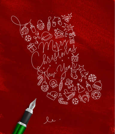 Toy socks lettering merry christmas and happy new year drawing with pen line on red background Illustration