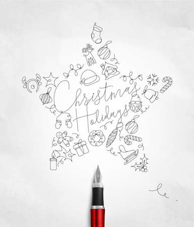 Christmas tree toy star lettering holidays drawing with pen line on crumpled paper background