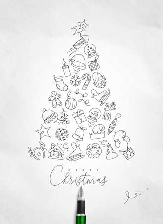 Christmas toy tree drawing with pen line on crumpled paper background