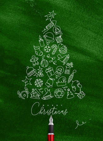 Christmas toy tree drawing with pen line on green background Illustration