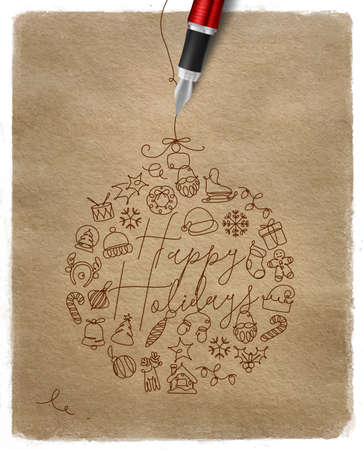 Christmas tree toy ball lettering happy holidays drawing with pen line on kraft paper background