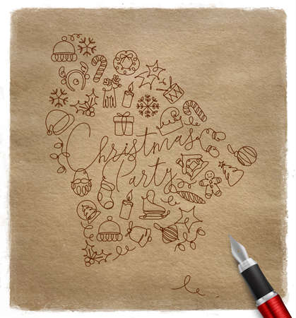 Toy bell lettering christmas party drawing pen line on craft