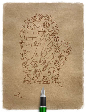 Christmas tree toy glove lettering holly jolly drawing with pen line on craft background