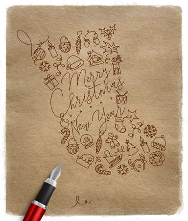 Toy socks lettering merry christmas and happy new year drawing with pen line on craft background