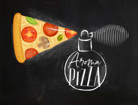 Poster perfume bottle aroma pizza with lettering drawing on chalkboard background