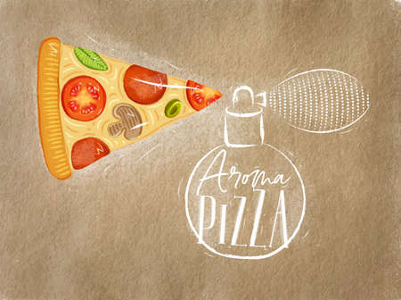 Poster perfume bottle aroma pizza with lettering drawing on craft background
