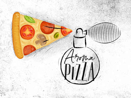 Poster perfume bottle aroma pizza with lettering drawing on dirty paper background