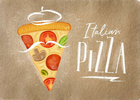 Poster italian slice of pizza with lettering drawing on craft background